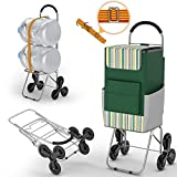 Shopping Cart with Wheels for Groceries, 220 lbs Heavy Duty Cart for Stair Climber, Foldable Grocery Cart with Wheels and 75L Shopping Bag, Utility Cart with Adjustable Bungee Cord