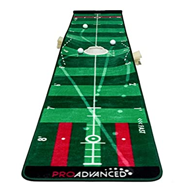 ProAdvanced ProInfinity Putting Mat - 4 Speed Golf Green Simulater - Giftbox Package -For Family - For Children - For Party
