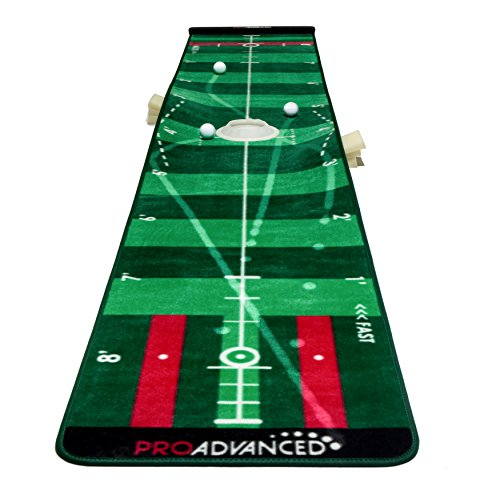 PROADVANCED ProInfinity Putting Mat - 4 Speed Golf Green Simulator - Giftbox Package -for Family - for Children - for Party