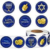 500 Pieces Hanukkah Decoration Stickers Blue Happy Hanukkah Sign Roll Stickers 6 Special Designs Chanukkah Label Stickers for Hanukkah Party Decorations Supplies