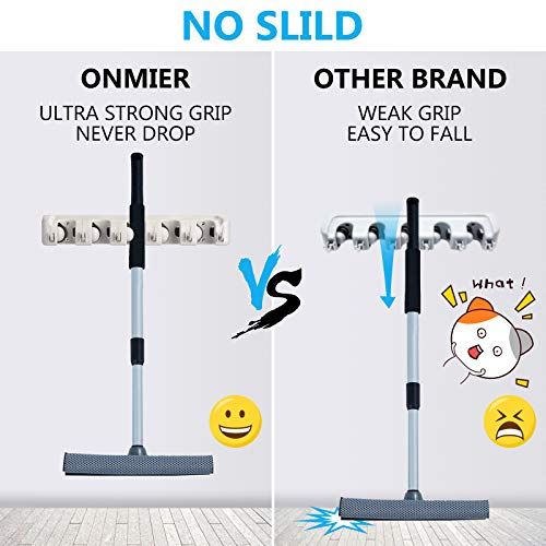 ONMIER 2 Pack Mop and Broom Holder, Multipurpose Wall Mounted Organizer Storage Hooks, Ideal Tools Hanger for Kitchen Garden, Garage, Laundry Room (Grey)