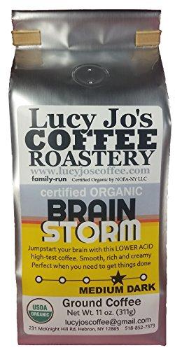 Lucy Jo's Coffee, Organic Brainstorm, Low Acid, Ground 11 oz