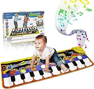 WOSTOO Pianomatta för barn, musikmatta dansmatta med 8 musikinstrument läge tidig baby pedagogisk lekmatta golv pianomatt...