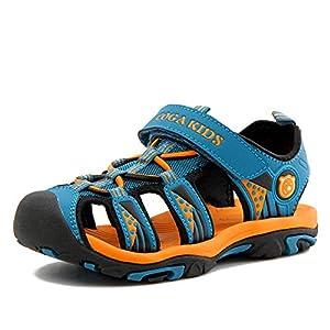 [Putu] キッズ サンダル 子供 アウトドア サンダル 男の子 女の子 春夏秋 滑り止め 靴 通学 通園(14.5cm,ネイビー)