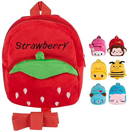 Otosea Cute Cartoon Kids Toddler Backpack 1-3 Years Old, Soft Plush Animal Children's School Backpacks With Reins For Boys Girls (Strawberry)