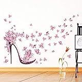 Scarpe con tacco alto Farfalle volanti Cuore Adesivo murale fiore Decalcomanie in PVC Decorazioni per la casa Decorazioni per la stanza della ragazza Poster