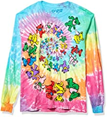 Officially licensed grateful dead merchandise Hand dyed using fiber active dyes for long lasting wear Long sleeve Front and back print Printed in the USA