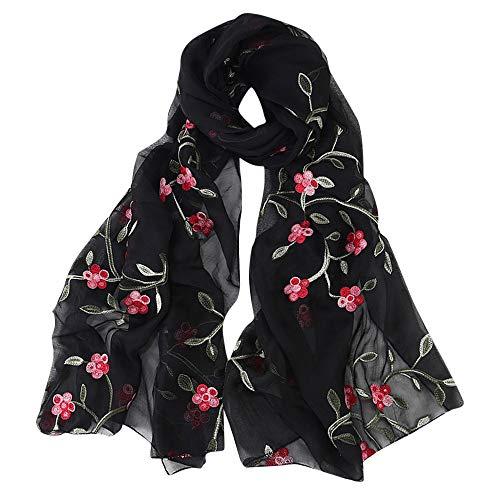 HEETEY Zubehör,Mode Lässige Frauen Shili Pfirsich Chiffon Blume bestickt Schal Hijab Wickelschals Stirnband Muslim Hijabs Schal