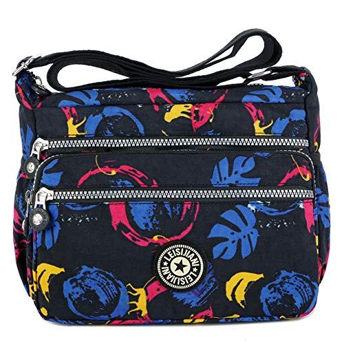 MINGZE Mujer Bolsos de Moda, Impermeable Mochilas Bolsas de Viaje Bolso Bandolera Sport Messenger Bag Bolsos Mano para Escolares Nylon Casual Shopper (Patrón 1)