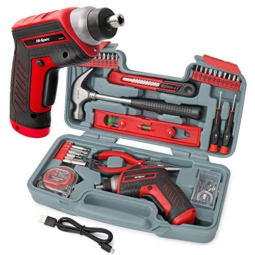 Hi-Spec 35-teiliges Rotes Heimwerker-Werkzeugset mit wiederaufladbarem USB-Akkuschrauber. Für Reparaturen und Wartungen in einem praktischen Koffer
