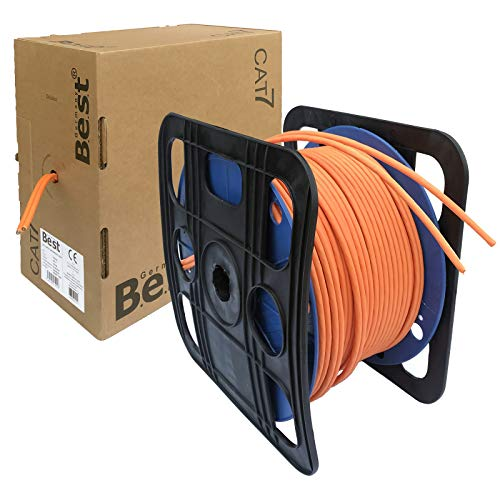 netshop 25 Duplex CAT.7 Netzwerkkabel Verlegekabel Gigabit S/FTP 10Gbit 1000Mhz CAT7 Installationskabel PIMF Kabel Netzwerk Verkabelung LAN Twin Datenkabel 4x2xAWG23 orange 10/100/1'000/10'000 Mbit