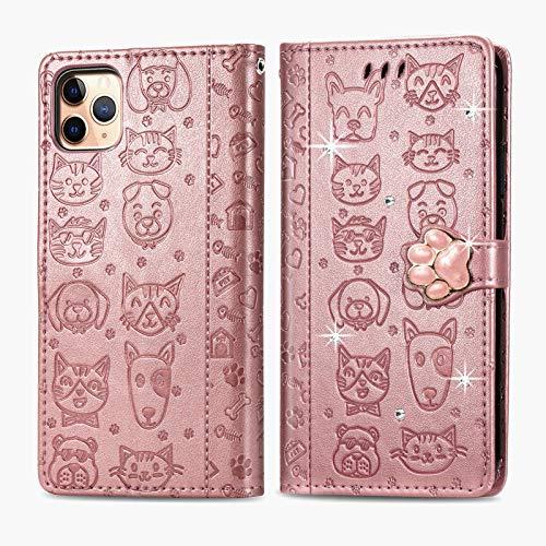 Oihxse Mignon Case Compatible pour iPhone 7/8 Coque Housse Étui Cuir PU Portefeuille avec Carte Fentes Fonction Stand Motif Chat et Chien Brillant Glitter Diamant Cover,Or Rose