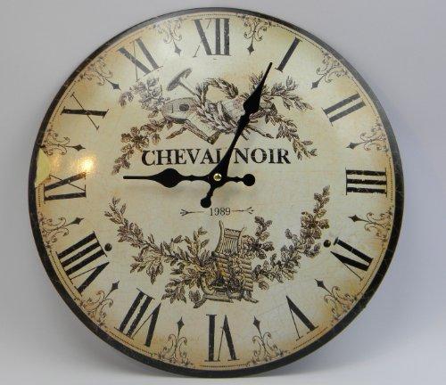 Wanduhr CHEVAL NOIR französischer Landhausstil Uhr Metall Antik - RETRO - Look