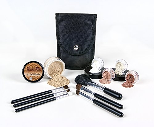 STARTER KIT with BRUSH SET (WARM Neutral Shade-Most Popular) Mineral Makeup Bare Skin Matte Foundation Cover