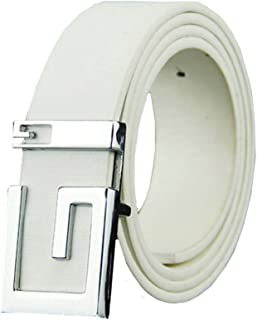 Mens Belts Smooth Matte Artificial Leather Letter G Alloy Plate Buckle