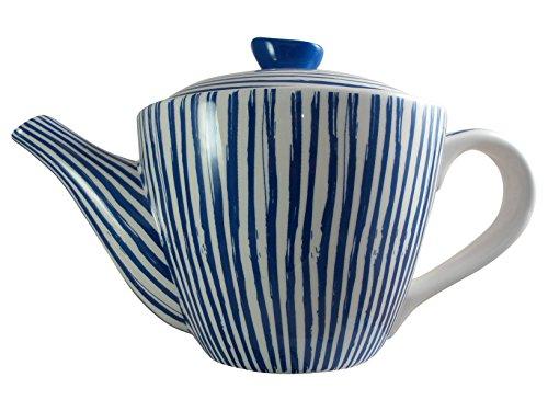 Teiera in ceramica blu con strisce bianche