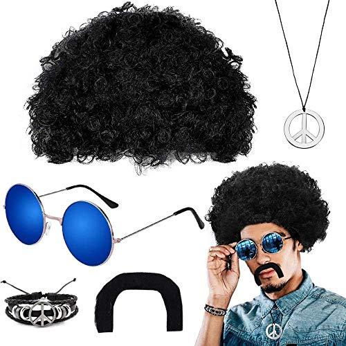 Soul hill Hippie Traje determinada Negro Peluca Afro Gafas de Sol del Bigote Anti-Guerra y Pulsera del Collar 50s 60s 70s del Vestido de Lujo de Celebra zcaqtajro