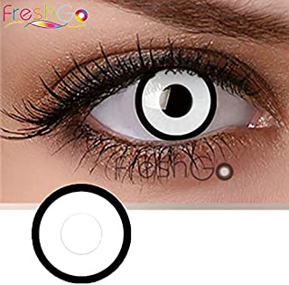 Soft Color Contact Lenses Cosmetic Eye Makeup Lens Crazy Series Cosplay 1 Year with Case- White Eye
