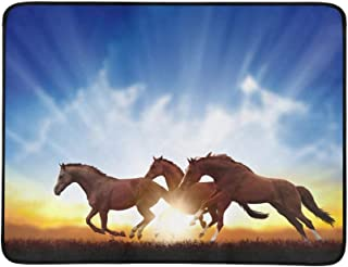 Peaceful Background Running Horses Beautiful Su Pattern Portable and Foldable Blanket Mat 60x78 Inch Handy Mat for Camping Picnic Beach Indoor Outdoor Travel