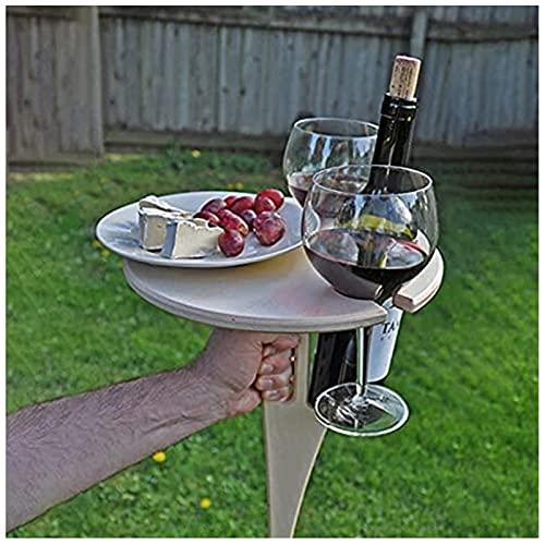 XKUN Mesa Vino Al Aire Libre, Mesa Vino Plegable, Mesa Vino Plegable con Soporte Botella, Mini Mesa Picnic PortáTil, para JardíN Yarda, Regalos para Mamá y Papá-Default
