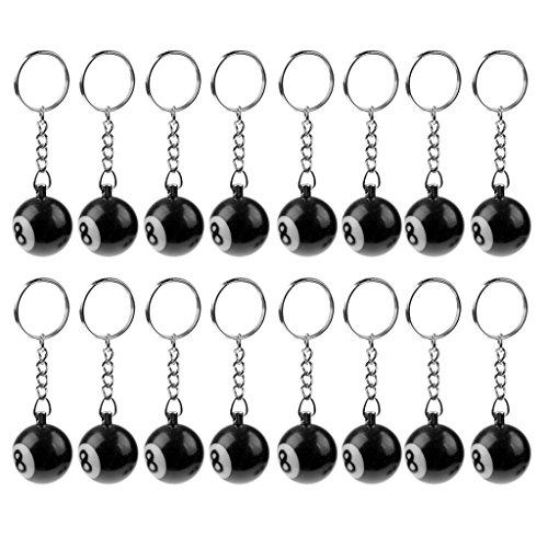 Baoblaze 16x Billiard Kugel Schlüsselanhänger Schluesselanhaenger Billardkugel Billardkugeln mit Nr. 8 Marke, Schwarz - Schwarz