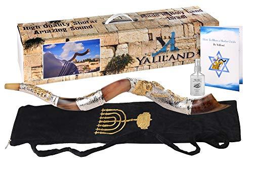 SHOFAR Polish Polished Silver Plated Set Kudu Horn Yemenite Lion Of Judah + Bag + Spray + Guide + Carrying Box Case (26'-28')