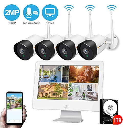 Jennov Zweiwege-Audio Überwachungskamera System 4CH 1080P Full HD WLAN Kamera Set mit 12 Zoll IPS Monitor 1TB Festplatte NVR Überwachungssystem Nachtsicht IP66 wasserdicht APP Fernzugriff Außen Haus