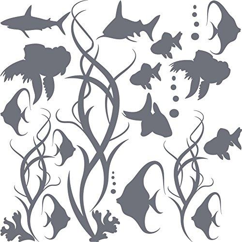 GRAZDesign Badezimmeraufkleber Aquarium - Bad Fliesen Aufkleber Fische im Wasser Set - Wandtattoo Bad Badezimmer WC Unterwasser Welt / 57x57cm / Farbe 071 grau