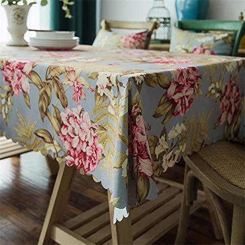 HOTNIU Tischdecke mit Blumendruck, Wasserdicht Bedruckte tischdecke, Ölfest/faltenfrei/schmutzabweisend Polyester Tischdecke für Küchenzimmer, rechteckige Tischdekoration (130 * 130 cm, Muster#LDL)