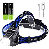 Headlamp Flashlight, USB Rechargeable 18650 Headlamp with 2pcs 18650 Battery ,IPX4 Waterproof LED Zoomable Headlight with 3 Modes Adjustable Headband Head Lamp for Camping, Hiking, Running Outdoors