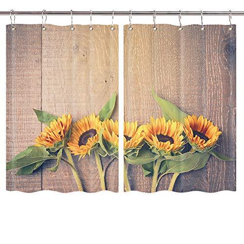 Retro-Sonnenblumen-Vorhänge, Vintage-Stil, Sonnenblume auf rustikalem Holz, Landhausstil, Scheunentür-Vorhänge, Küchendekorationen, Fenstervorhänge, Fensterbehandlungs-Sets mit Haken, 139 x 99 cm