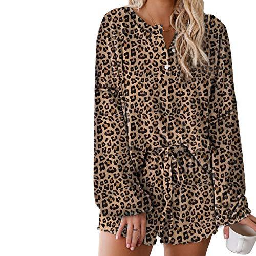 Damen-Pyjama-Set, langärmelig, Leopardenmuster, mit Kordelzug, Shorts, Nachtwäsche, Loungewear Gr. X-Large, braun