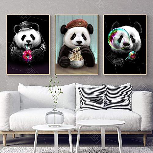nobrand Nette Cartoon-Plakate und Drucke Panda-Tiere Leinwand-Malerei Kinderzimmer Babyzimmer Wandkunst Bild für Wohnzimmer Kinder Dekoration-50x70cm X3P kein Rahmen