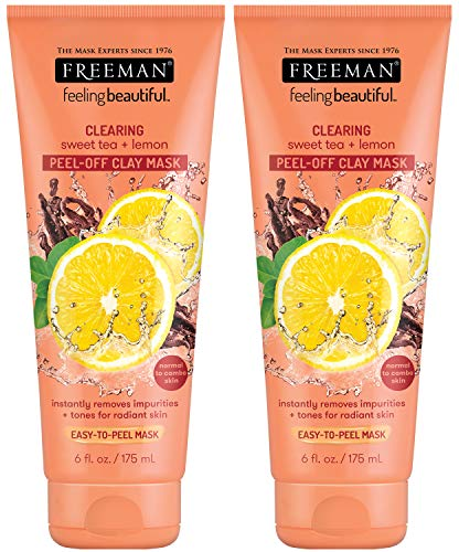 Freeman Clearing Peel Off Clay Facial Mask, Cleansing and Oil Absorbing Beauty Face Mask with Sweet Tea and Lemon, 6 oz, 2 Pack