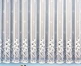 Gardine Vorhang Jacquard Store mit Bleiband für schönen Fall weiß schönes Blumenmuster allover mit Kräuselband / Universalschienenband HxB 145x300 cm für Fensterbreite 100-135 cm TOP QUALITÄT …auspacken, aufhängen, fertig! Typ43