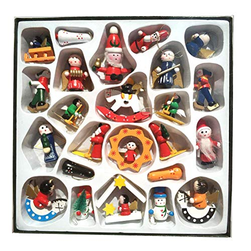Set of 24pcs Christmas Wooden Ornaments Handmade Crafted Miniature Christmas Tree Party Decorations Unisex