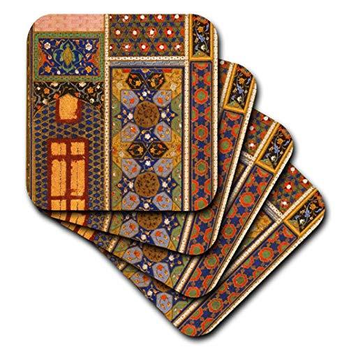 3drose CST 162526 3 Arabische stijl Multicolor Abstract patroon kleurrijk Turks Marokkaanse Islam Muslim art-ceramic Tile onderzetter, 4 stuks