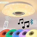 Lámpara de techo LED Hemlo con altavoz mando a distancia - 8x colores diferente Luz blanca regulable - Moderna Lámpara de techo dormitorio salón