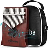 Kalimba Thumb Piano 17 Key,Rainbow Clear Crystal Acrylic Finger Piano Transparent Body Cute Bear Shaped Kalimba With Case Gifts for Kids Adult Beginners with Tuning Hammer (RoseWood)
