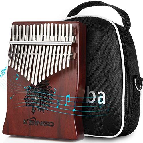 高品質の17鍵カリンバ 17 keys Kalimba 親指ピアノとEVA高性能保護ケース、ハンマー、スタディガイド