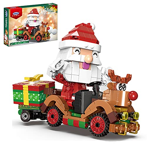 TopBau Weihnachtsmann Rentier Modell Bausatz, 390+ Teile, Rentier und Elfen Kompatibel mit Lego Creator 10837
