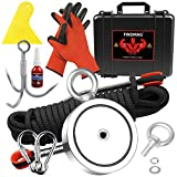 2625 lbs Fishing Magnet Kit, Double Sided Magnet Fishing Kit with Rope, Super Strong Fishing Magnet for Retrieving Items in River, Lake, Beach, Lawn, 4.57' Diameter