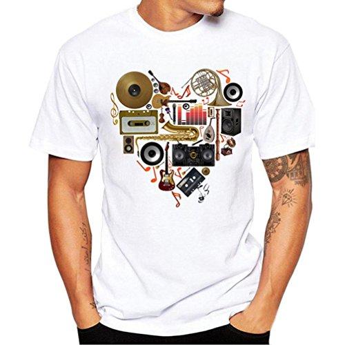 HCFKJ T-Shirt Blusen Herren, Druck Tees Shirt Kurzarm T Shirt Bluse (L, WH)