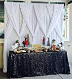Sequin Tablecloth 60'x102' Sparkly Party Table Cloths Sequin Table Cover Overlay for Wedding Birthday Baby Shower Halloween Black
