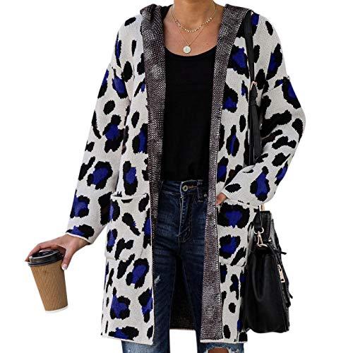 Strickjacke Damen Cardigan Damen Damen Langarm Leopard Printed Strick Cardigan Mantel Open Front Jacken Mode Streetwear Hooded Sweater XL Blau