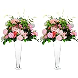NUPTIO 2 Pcs Trumpet Glass Vase Clear Tall Floral Container Centerpiece, Flower Vases 15.7 Height for Wedding Party Table Centerpieces Birthday Anniversary Quinceanera Reception Baby Shower
