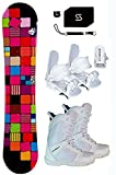 142cm Sionyx Snowboard & Symbolic White Bindings & Boots & Leash, Stomp, Pad, Burton Decal Package (142cm Sionyx Quilt (rmt7), 7 Women Symbolic WhiteBoots & Bindings)