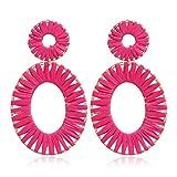 YAZILIND moda tejida a mano Raffia forma ovalada forma colgante colgante colgante colgante pendientes mujeres niñas oreja joyería cumpleaños regalo Color7