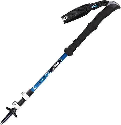 Xasclnis Ultra léger Alpenstocks Pole Sports de Plein air Randonnée télescopique de Grande dureté Trois batons (Couleur   bleu)