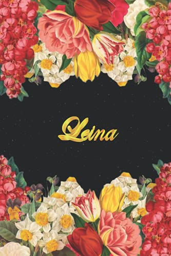 Leina: Lined Notebook / Journal with Personalized Name, & Monogram initial L on the Back Cover, Floral Cover, Gift for Girls & Women